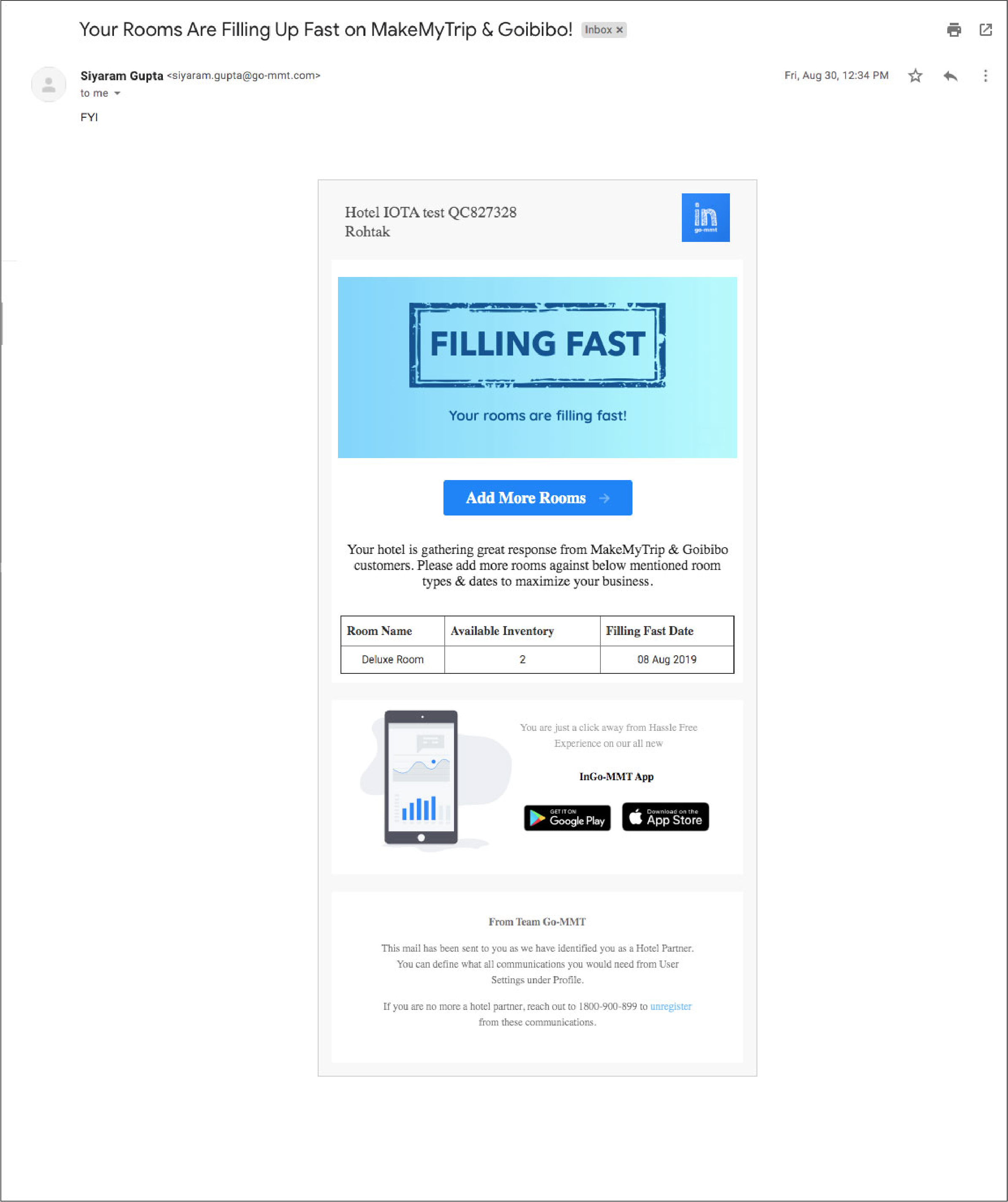Go-MMT Email Campaign