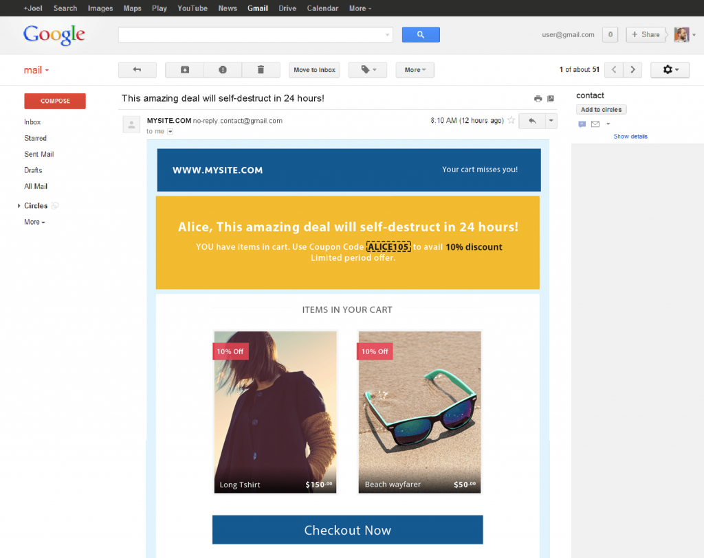 shopping cart recovery or cart abandonment email template