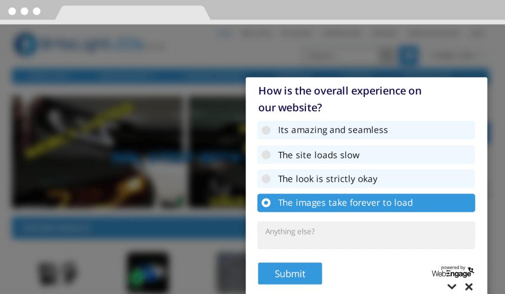 survey UI & fast loading website
