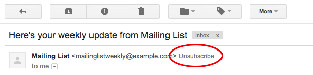 Unsubscribe link in gmail header
