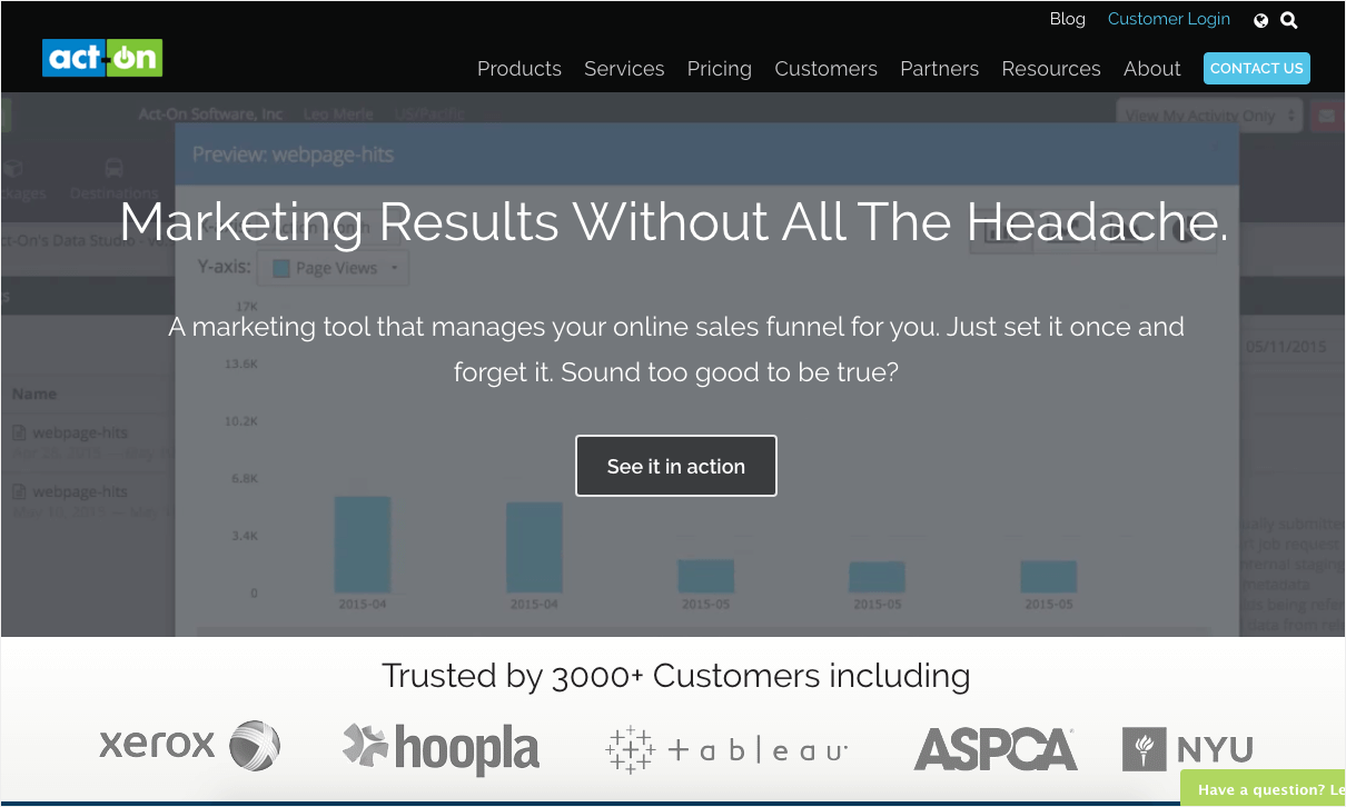 ActOn's targeted homepage depending on audience 2