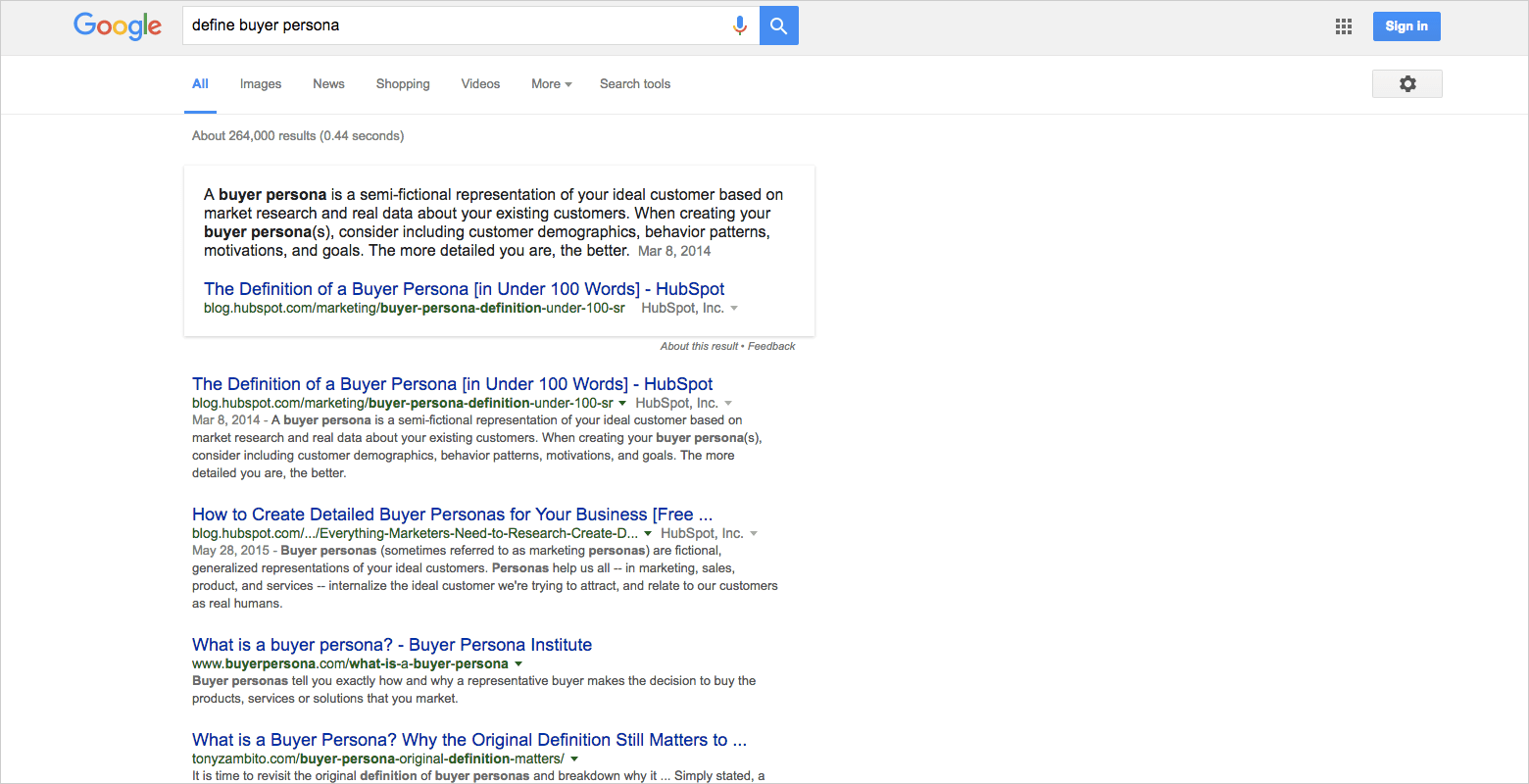 Google search of buyer persona