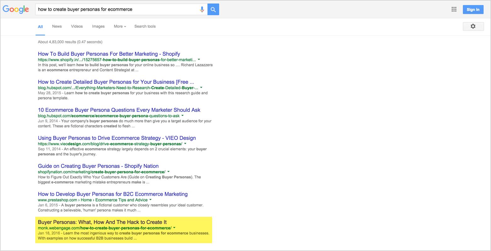webengage monk ranking on google search