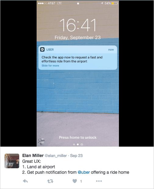 Uber's good push notification