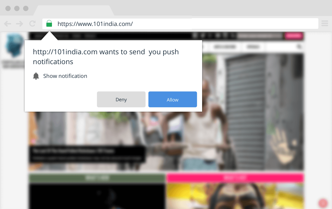 permission dialog box for web push notification