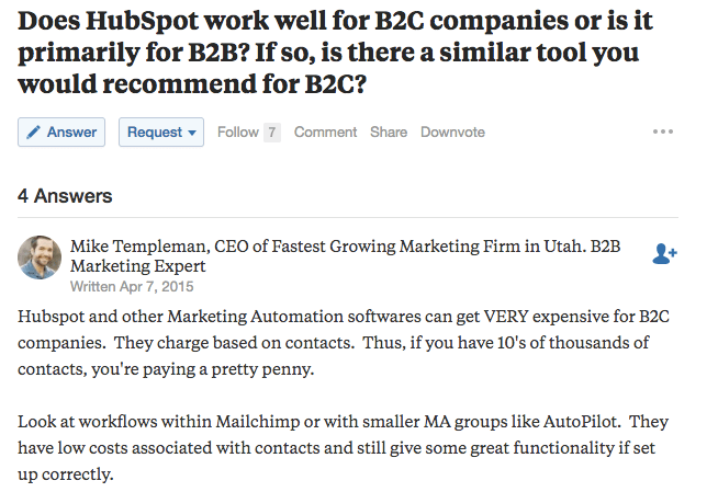 B2C Marketing Automation Quora Questions