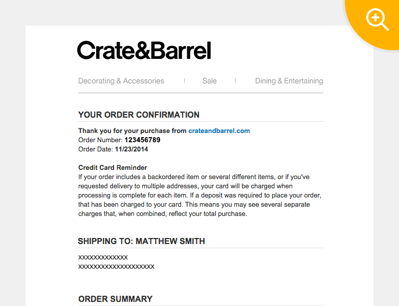 Example: Triggered email by Crate & Barrel upon order confirmation
