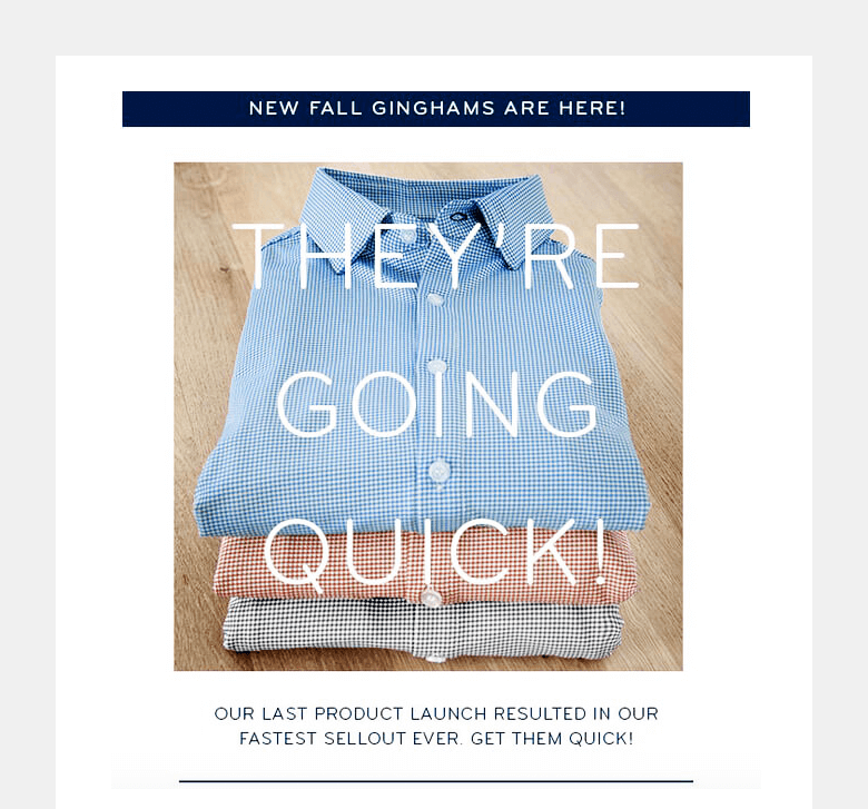 Example: Using scarcity principle in automated email by Mizzen+Main