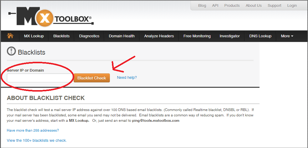 Checking if blacklisted or not via MXtoolbox