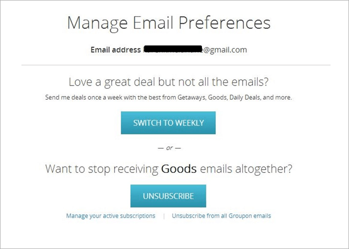 manage email preferences example