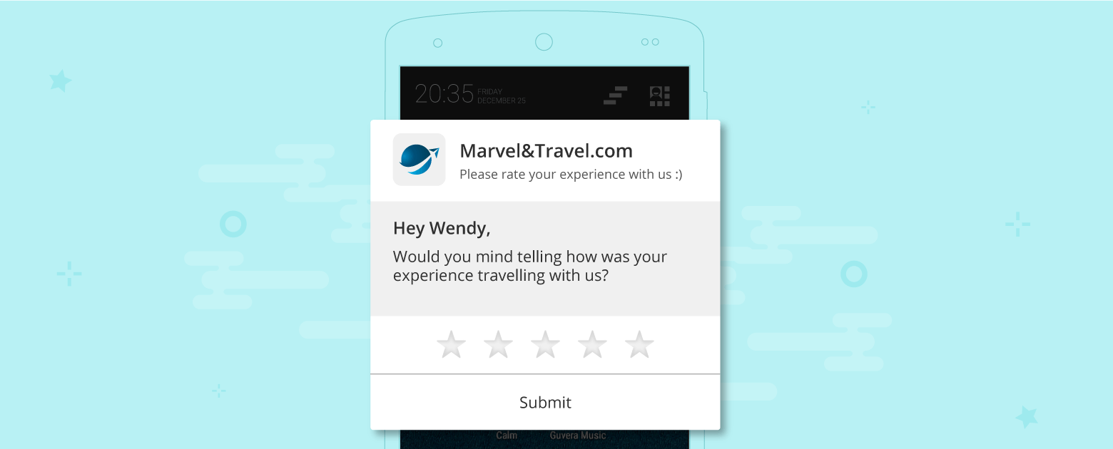 Push Notification to take feedback on stay experience