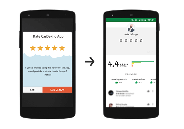 in-app message use-case (example for rating)