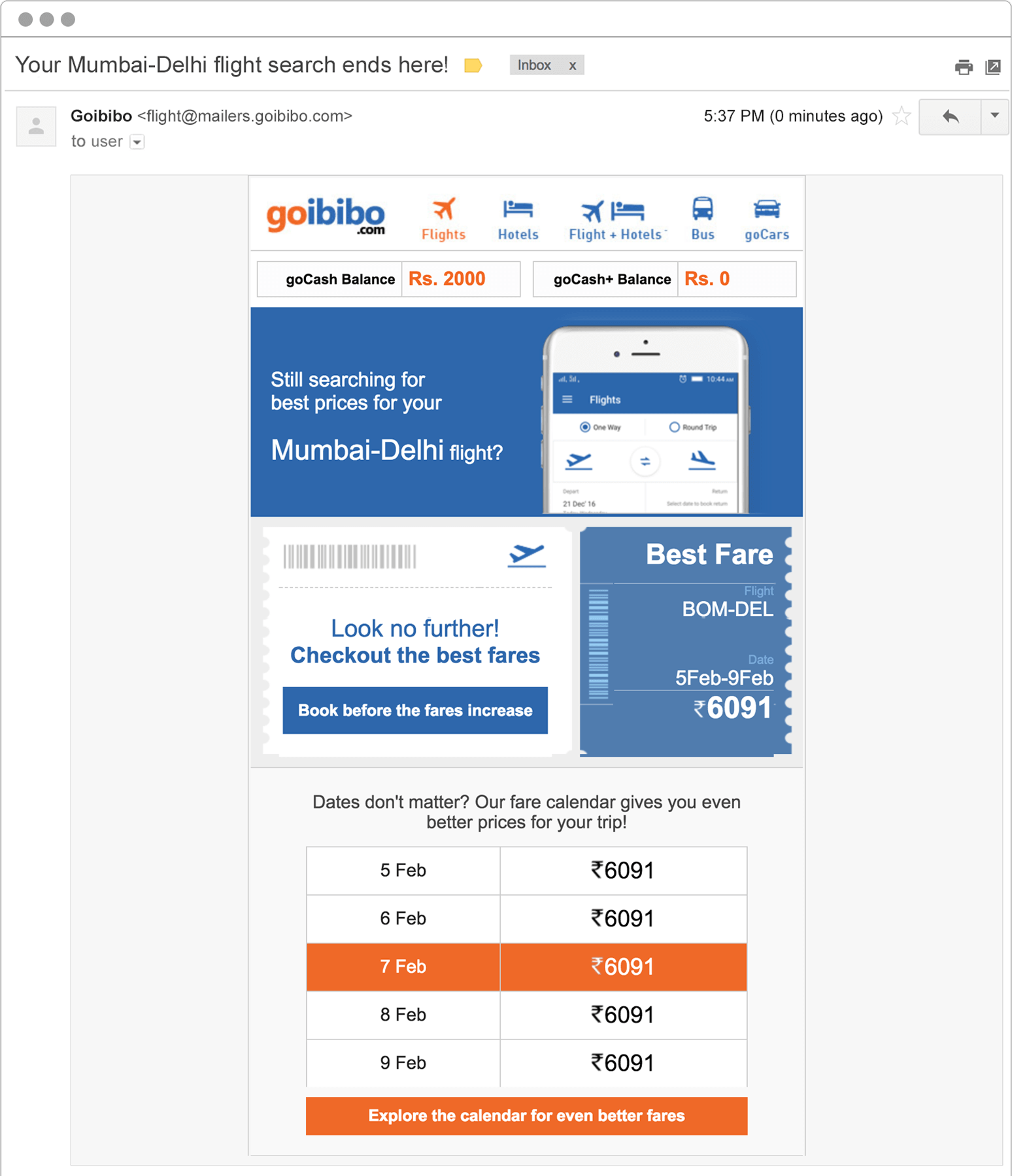 travel booking abandonment email to specific user from Goibibo
