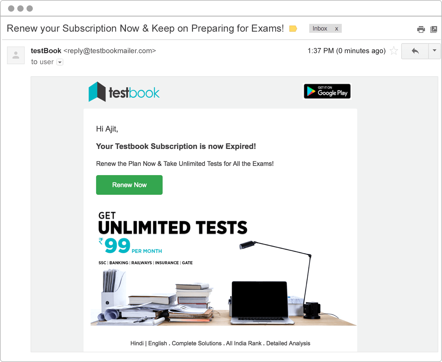 timely email reminders from Testbook