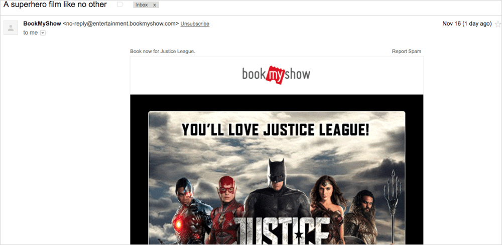 bookmyshow email example
