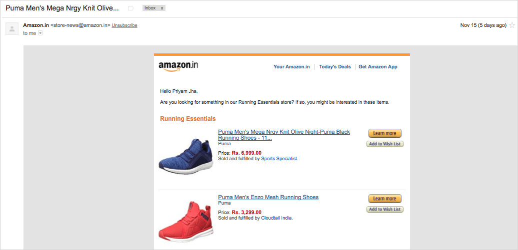 amazon email example of on-site user behaviour