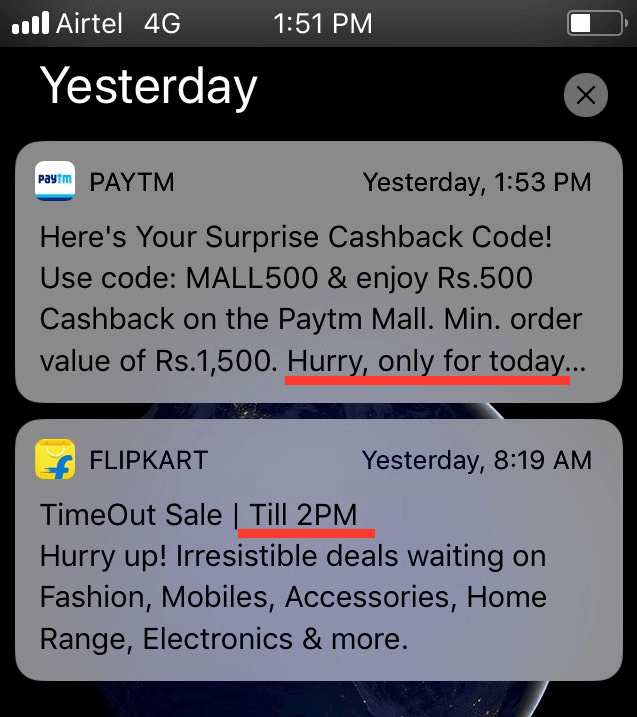 mobile notification for limited period offer