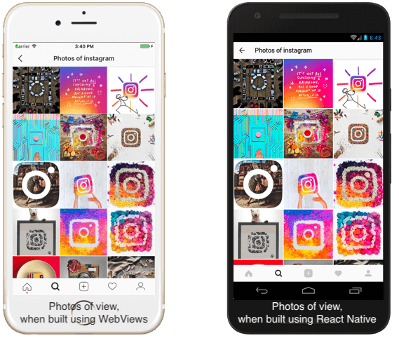 UI and UX of viewing photos on Instagram's iOS app - A comparison before and after shifting to React Native