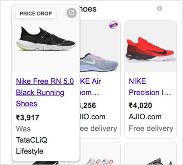 Product Listing Ads appearing to the audiences who have been looking for Nike shoes online
