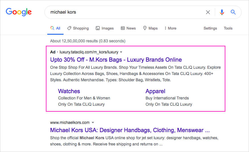 Targeted ads on Michael Kors bags for a generic term