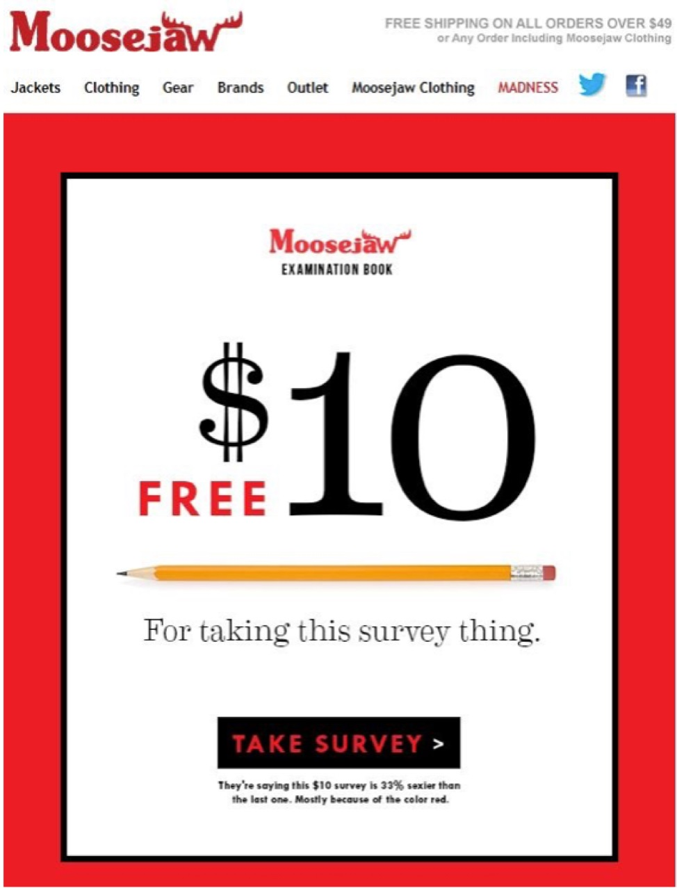 Personalized Feedback Email by Moosejaw | WebEngage